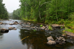 River flows among the stones. Blurry water. Royalty Free Stock Photos