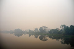 The river fog on morning. In chiangrai thailand royalty free stock image