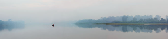 River in fog - panorama Royalty Free Stock Photo
