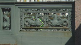 1.River Fontanka in St. Petersburg, sea horses, holding a Trident of Neptune. stock video