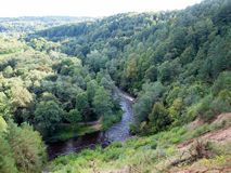 The river in forest. Lithuania natural view. Belmontas. Vilnius Stock Image