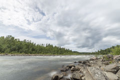 River with Forest and Cloudy Sky Royalty Free Stock Photos