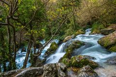 River in forest. Fast river in Fontaine-de-Vaucluse, France Stock Photography