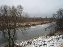 River in the forest near Moscow during the thaw. Royalty Free Stock Photo