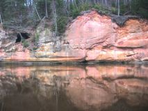 River in the Forest with sand mountains, Sigulda, Royalty Free Stock Photography