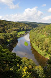 River and forest scenery. Landscape of Bohemian river Berounka and green forests around, Czech Republic Royalty Free Stock Photo