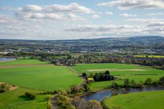 River Forth countryside view from Abbey Craig hilltop near Stirling. City, central Scotland Royalty Free Stock Photography