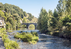 River of France with bridge. River of France on a sunny day with the trees and mountains  in the background. It´s a picture with houses in one side and a Royalty Free Stock Image