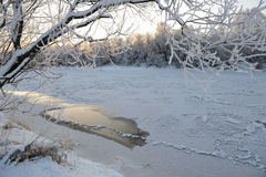 The river freezes. Stock Photo