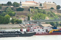 River freight traffic Royalty Free Stock Photo