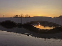 River Frome at Sunset. Sunset over Bridge in Wareham Royalty Free Stock Photo