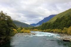 River Futaleufu flowing, well known for white water rafting, Patagonia, Chile. Stock Photo