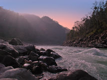 The river Ganga in India at sunset Royalty Free Stock Images