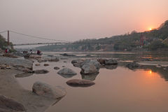 At the river Ganges in India at sunset Royalty Free Stock Image