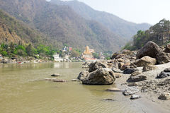 The river Ganges at Laxman Jhula in India Stock Image