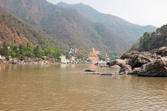 At the river Ganges near Laxman Jhula in India Royalty Free Stock Photos