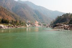 At the river Ganges near Laxman Jhula in India. View at the river Ganges near Laxman Jhula in India Asia Stock Photo