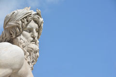 River Ganges statue as Greek God (with copy space). Marble head of River Ganges statue from baroque Fountain of Four River inthe center of  Piazza Navona Square Royalty Free Stock Photography