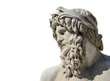 River Ganges statue as Greek God. River Ganges god statue marble head from the Fountain of Four River in the historic center of Rome isolated on white background Royalty Free Stock Photography