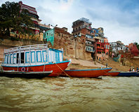 On the river Ganges in Varanasi Stock Images
