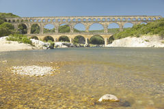 River Gard and the Pont du Gard, Nimes, France Royalty Free Stock Photos