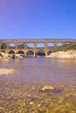 River Gard and the Pont du Gard, Nimes, France Royalty Free Stock Photo