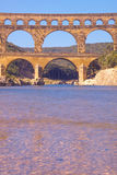 River Gard and the Pont du Gard, Nimes, France Royalty Free Stock Images
