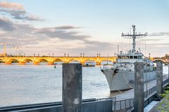 River Garonne in Bordeaux with warship, France stock images