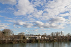 River Garonne and soccer stadium in Toulouse, France Stock Photo