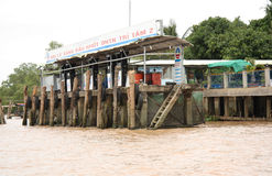 River Gasoline station at the Mekong river Royalty Free Stock Images