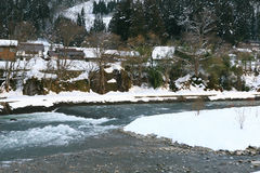 River at Gassho-zukuri Village/Shirakawago Royalty Free Stock Photos
