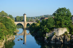 Famous medieval bridge in the old French town Orthez Royalty Free Stock Photography