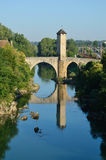 Famous medieval bridge in the old French town Orthez Stock Images
