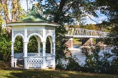 River gazebo haven in the sun. stock photography