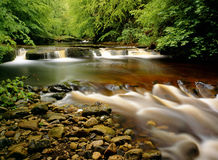 River Gelt, Cumbria, England. The falls and geology of the river Gelt, in Cumbria. Taken in summer, the lush foliage overhangs the river. The riverbed has a warm Royalty Free Stock Image