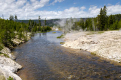 River and geysers in Yellowstone Royalty Free Stock Photo