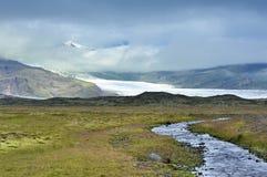 River and glacier, national park Vatnajokull. Landscape near glacier Skaftafellsjokull, Iceland Royalty Free Stock Photography
