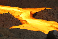 River of gold. Charge chrome alloy being sand cast at a South African producer of charge chrome on November, 2016 Royalty Free Stock Photo