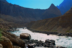 River in gorge. Scenic view of river in gorge. Panj River. Republic of Tajikistan Royalty Free Stock Photography