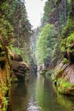 Gorges in Czech Republic. River gorges with rocks and trees along it in Czech republic royalty free stock photography