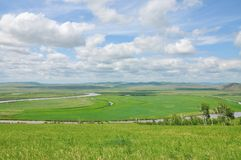 River in grassland. River like Tai Chi Eight Diagrams Royalty Free Stock Photos