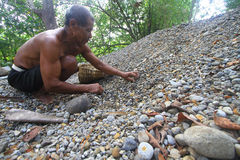 River gravel miners Royalty Free Stock Photography