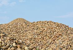 River gravel pile. The river gravel pile is sold for cement use in construction Royalty Free Stock Photography