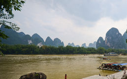 River and green hills in South China Stock Photos