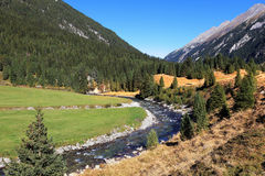 The  river among green mountain meadows Royalty Free Stock Photo