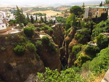 River Guadalevin. This river flows through the city of Ronda , located in the province of Andalusia, in Spain. It is also called the city over the rocks because Stock Photo