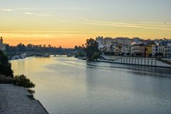 The river Guadalquivir at sunrise royalty free stock photography