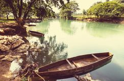 River in Guatemala. Boats on the river, Guatemala Stock Photos