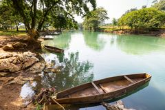 River in Guatemala. Boats on the river, Guatemala Royalty Free Stock Photos