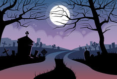 River Halloween Moon Cemetery Banner Graveyard. Card Flat Vector Illustration Royalty Free Stock Photos